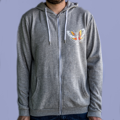 The 'Light', Grey Zipped-up  Butterfly Hoody