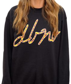 Black crew neck with leopard print script DBNO