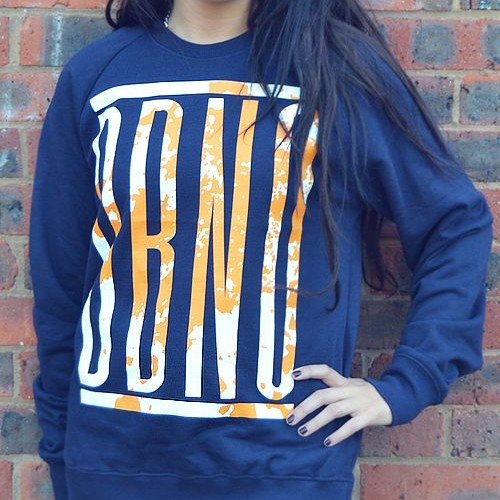 DBNO Navy Blue with Orange print on an Eco Organic sweatshirt