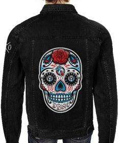 'Skull' Black Denim Unisex Jacket