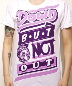 unisex 'down but not out' diner violet on white tee