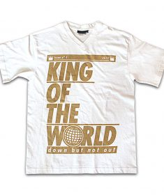 unisex king of the world white v neck t-shirt