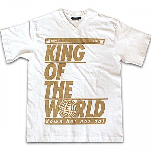 unisex king of the world white v neck t-shirt
